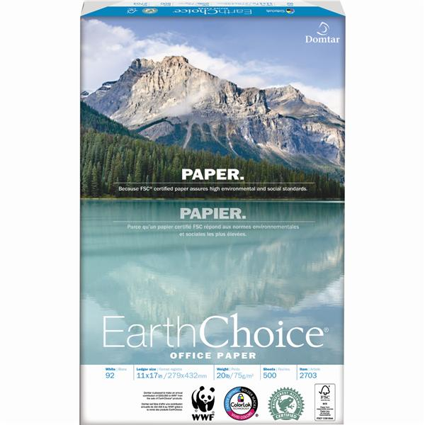 """Domtar EarthChoice® Office Paper, 20 lb., 11"""" x 17"""", Ledger Size, 2500/bx"""
