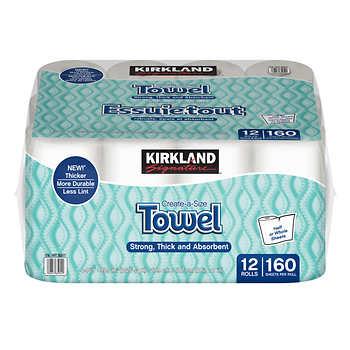 Kirkland Paper Towel 160 Xtra Large Sheets per Roll Ultra Absorbent 2 Ply 12 Rolls per Pack
