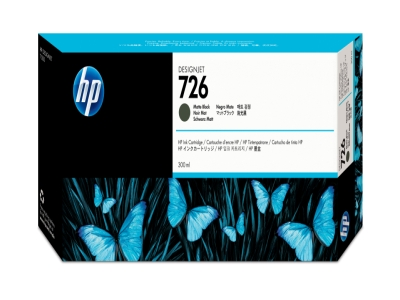 HP 726 300ML MATTE BK DESIGNJET INK CRTG