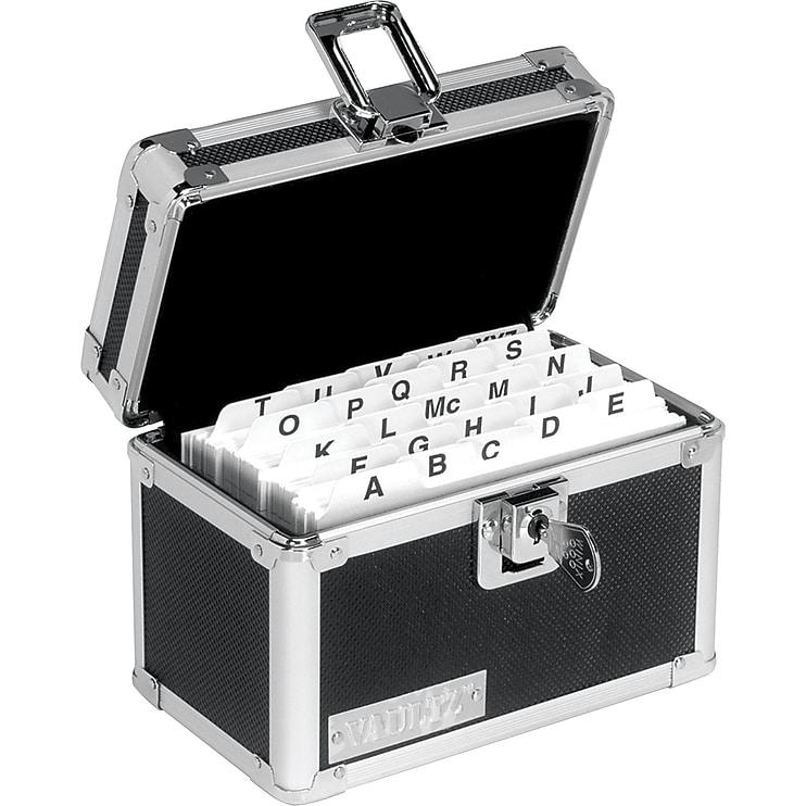 "Vaultz Locking Index Card Box, 3"" x 5"", Black"