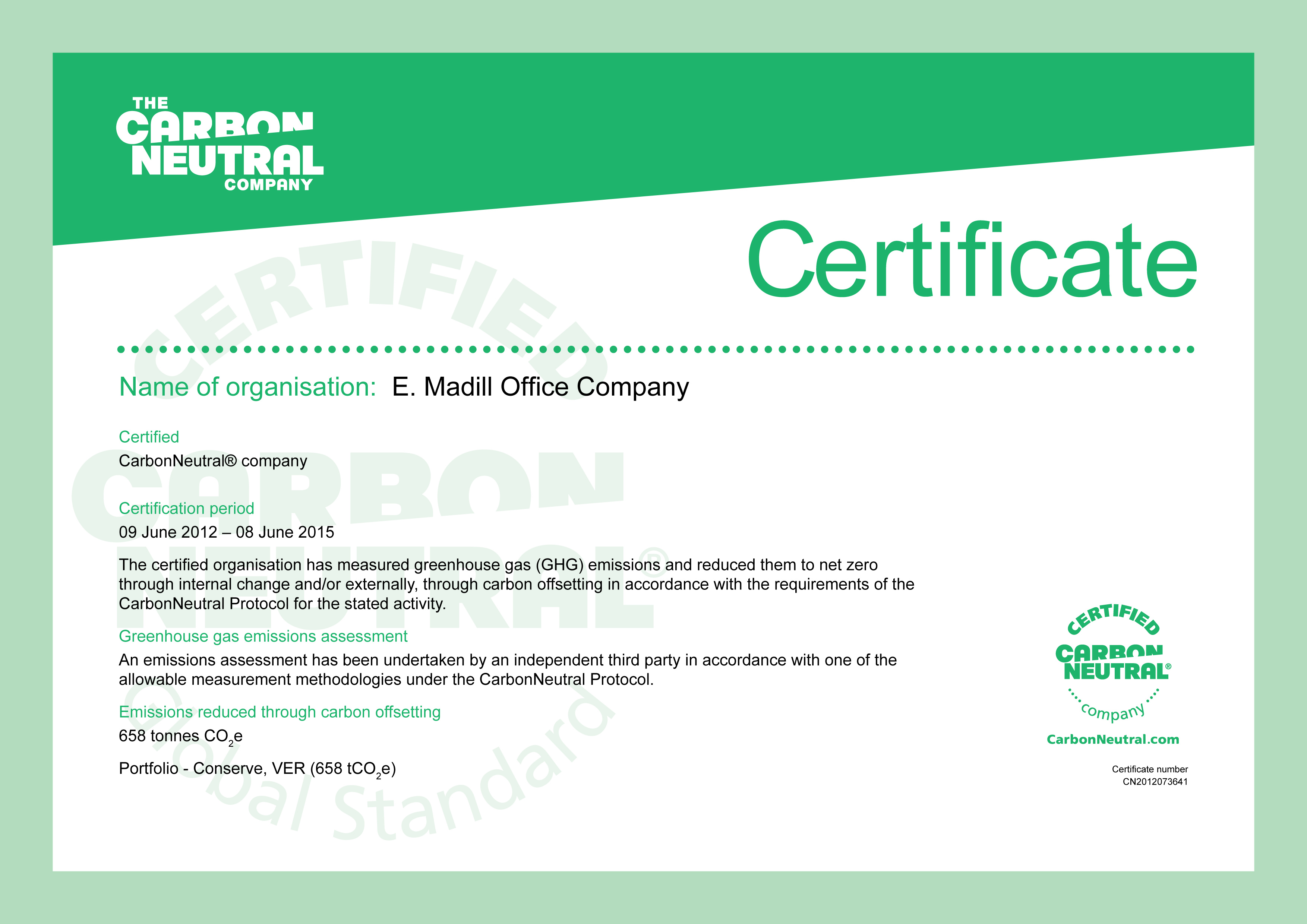 E.Madill Office Supplies | Carbon Neutral Company Certificate ...